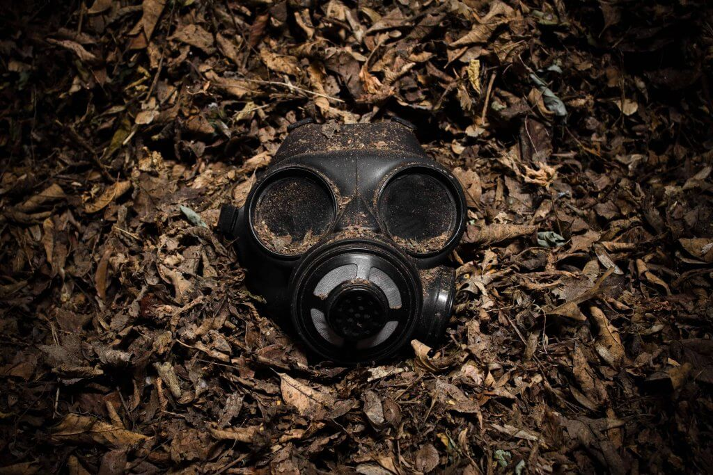 Gadolinium contrast toxicity symbolised by a gas mask
