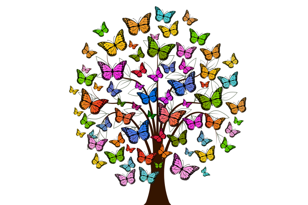 Nutrition and lifestyle coaching transforms your health, as shown by a tree of butterflies