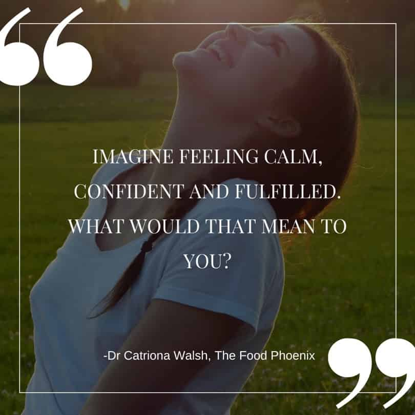 Imagine feeling calm, confident and fulfilled (happy woman) - How to deal with anxiety Quote