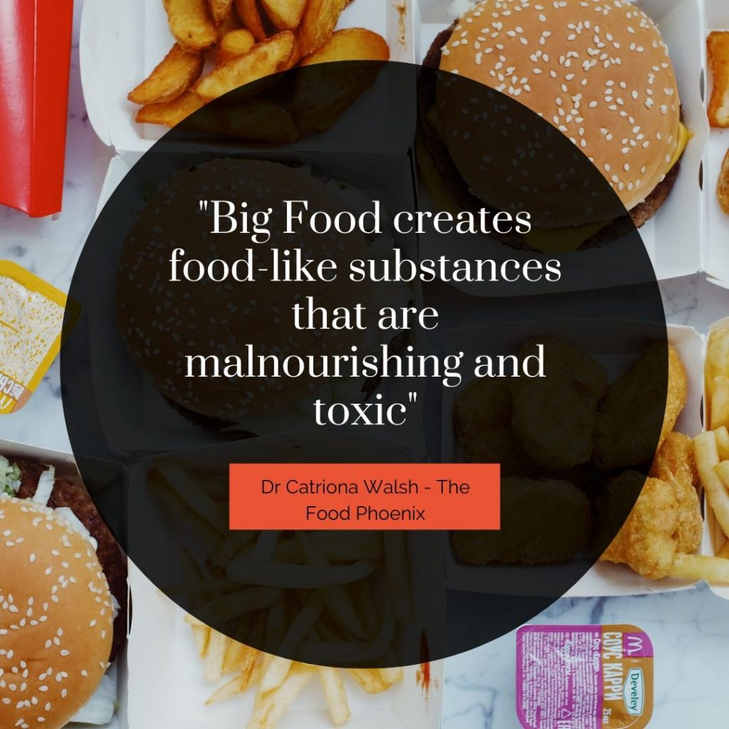 Big Food creates food-like substance's that are malnourishing and toxic quote by Dr Catriona Walsh