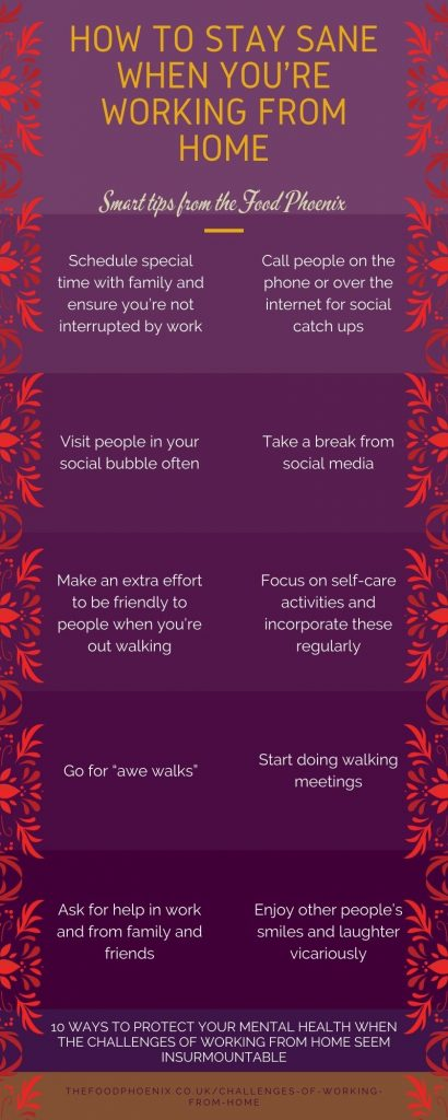 10 ways to protect your mental health when the challenges of working from home seem insurmountable infographic