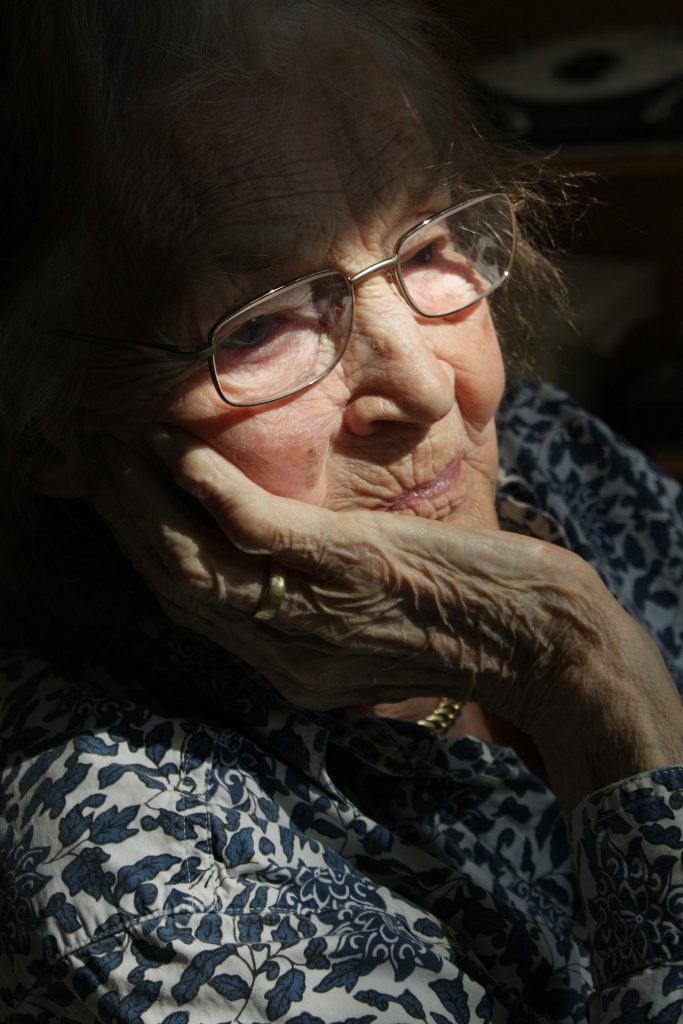 Protect yourself from COVID - elderly woman