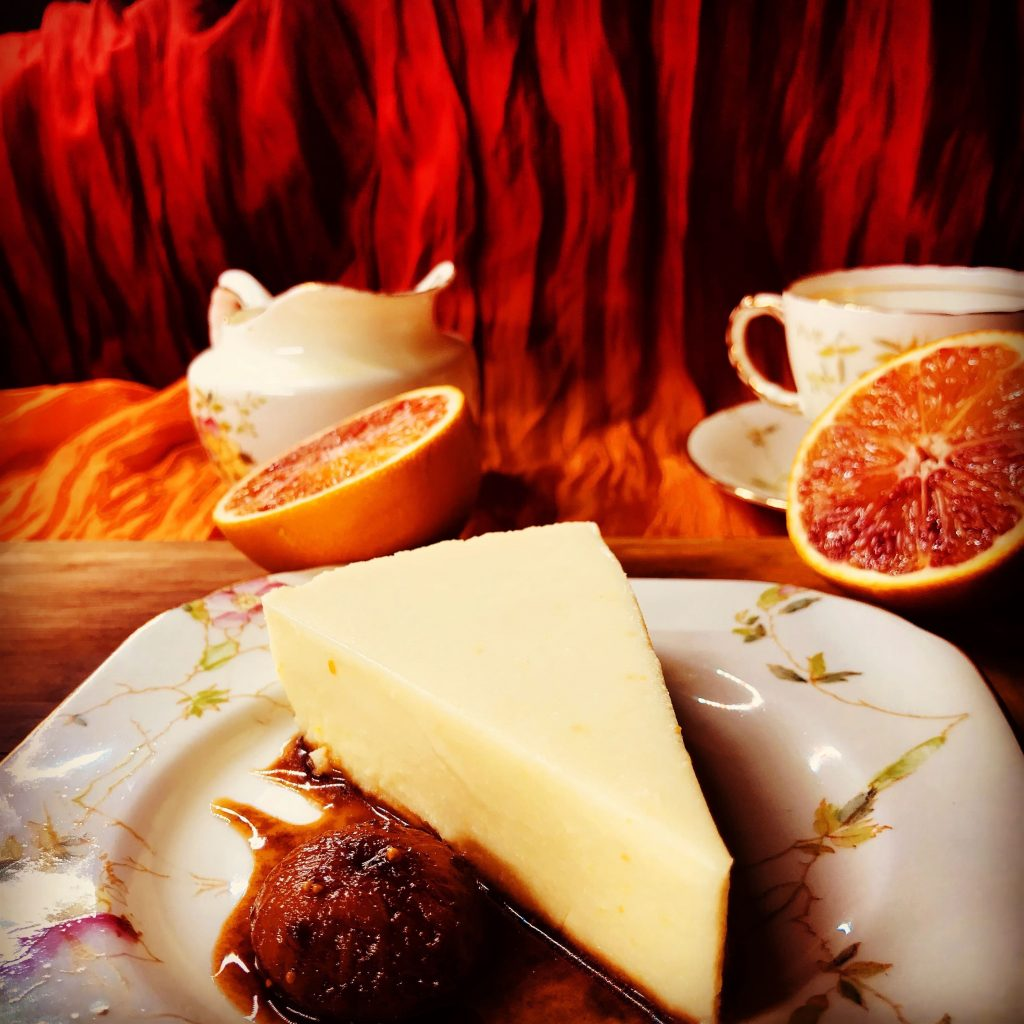 Mouthwatering orange and rose cheesecake with rose-scented figs
