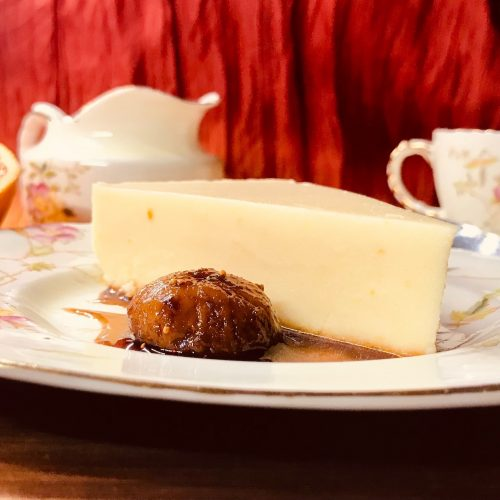 Rose-scented figs with cheesecake and blood orange
